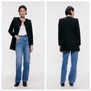 NWT. Zara Black Buttoned Frock Coat. Size L.